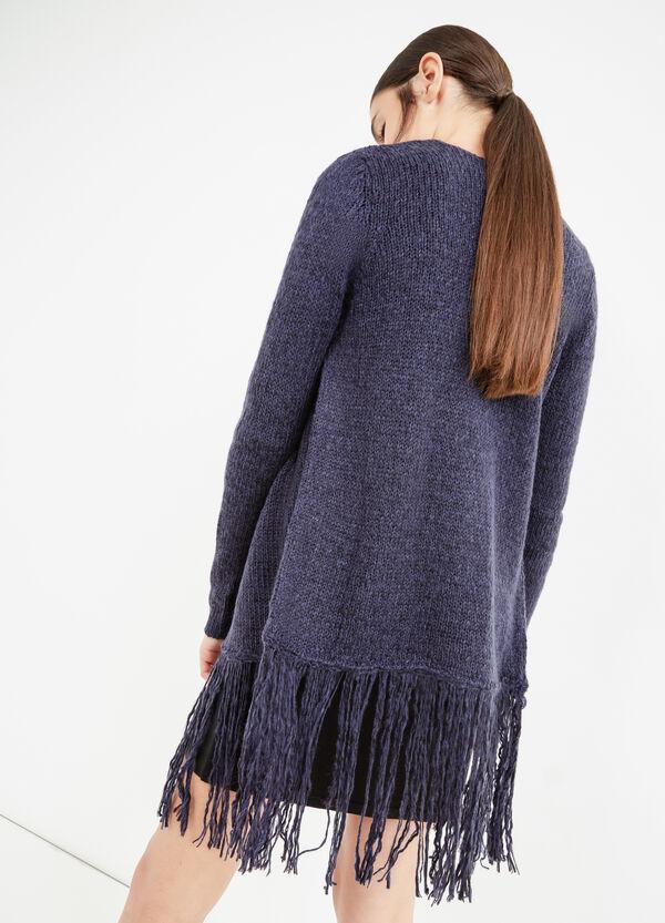 Knit cardigan with shawl neck and fringe | OVS