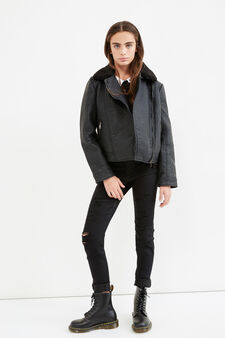 Teen textured-effect faux leather jacket, Black, hi-res