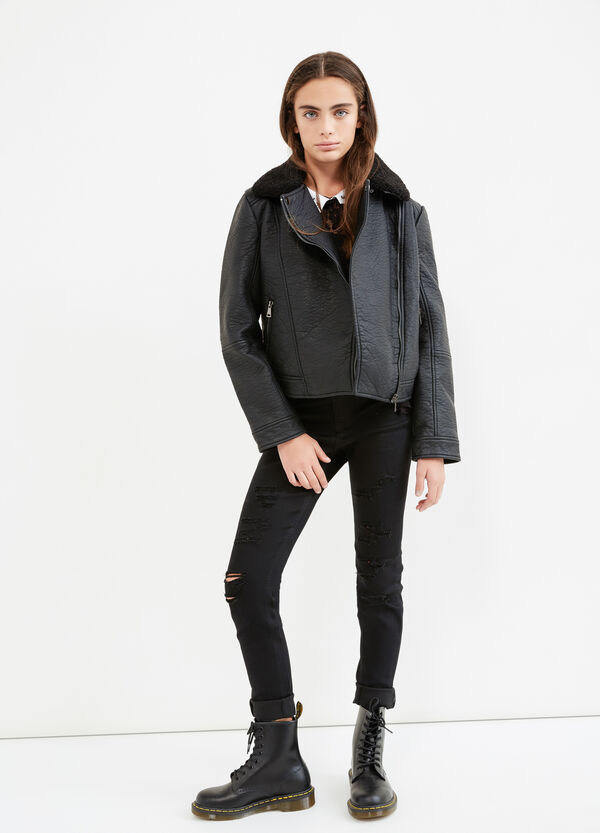Teen textured-effect faux leather jacket | OVS