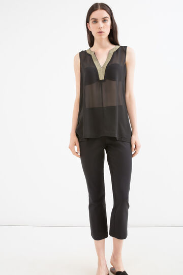 V-neck semi-sheer blouse, Black, hi-res