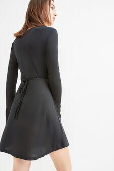 Ribbed V-neck dress, Black, hi-res