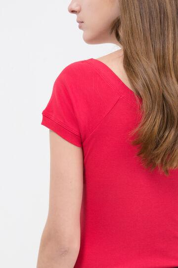 T-shirt puro cotone scollo ampio, Rosso, hi-res