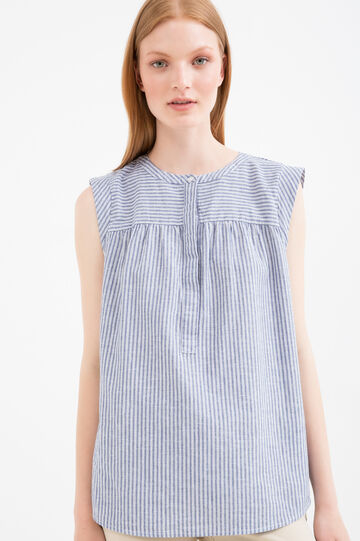 Striped patterned sleeveless blouse, Blue, hi-res