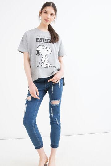 T-shirt misto cotone Snoopy, Grigio melange, hi-res