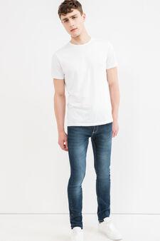Skinny-fit, worn-effect stretch jeans, Dark Wash, hi-res