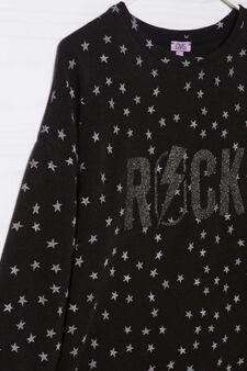 Glitter print patterned pullover, Black, hi-res