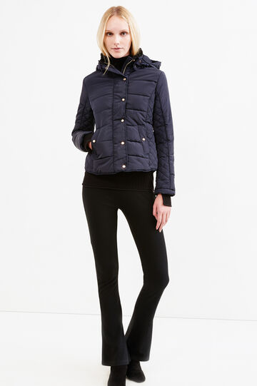 High neck down jacket with faux-fur lining, Blue, hi-res