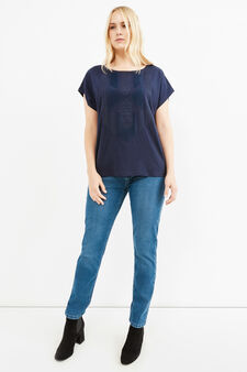Curvy cotton T-shirt with lace, Blue, hi-res