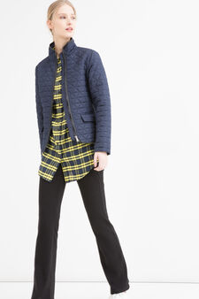 Quilted jacket with high neck, Navy Blue, hi-res