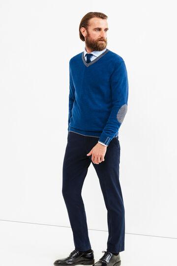 Pullover Rumford misto cashmere con toppe, Blu denim, hi-res