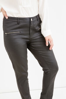 Curvy stretch cotton viscose trousers, Black, hi-res