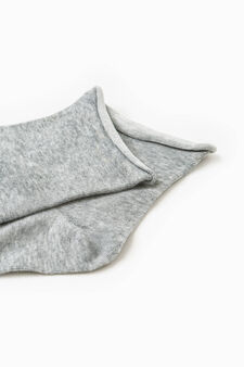 Solid colour stretch cotton short socks, Grey, hi-res