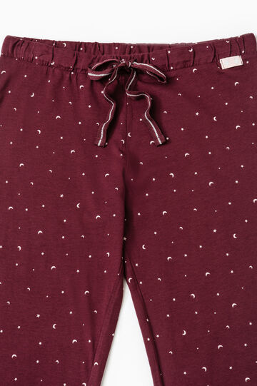 Pantaloni pigiama cotone fantasia, Viola melanzana, hi-res