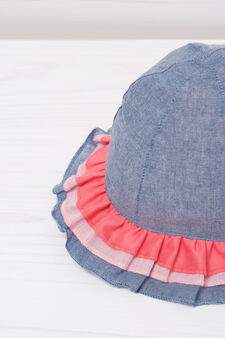 Hat with flounce, Blue, hi-res