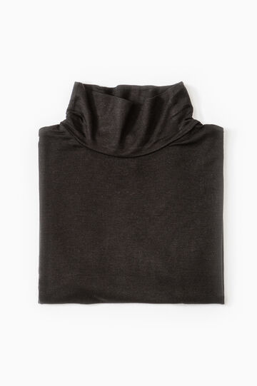 Viscose undervest with high neck, Black, hi-res