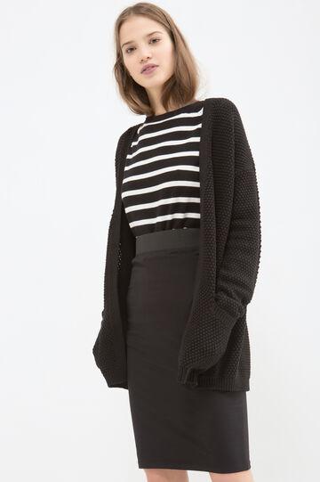 Stretch cotton longuette skirt, Black, hi-res