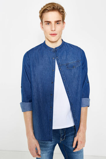 Slim-fit casual denim shirt, Medium Wash, hi-res