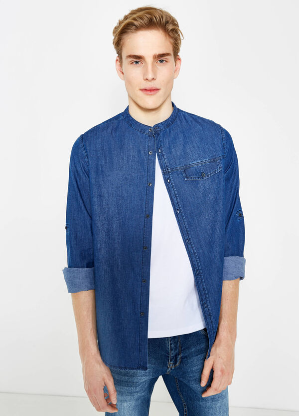 Slim-fit casual denim shirt | OVS