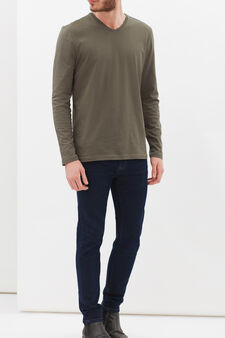 Long-sleeved T-shirt with V neck, Army Green, hi-res