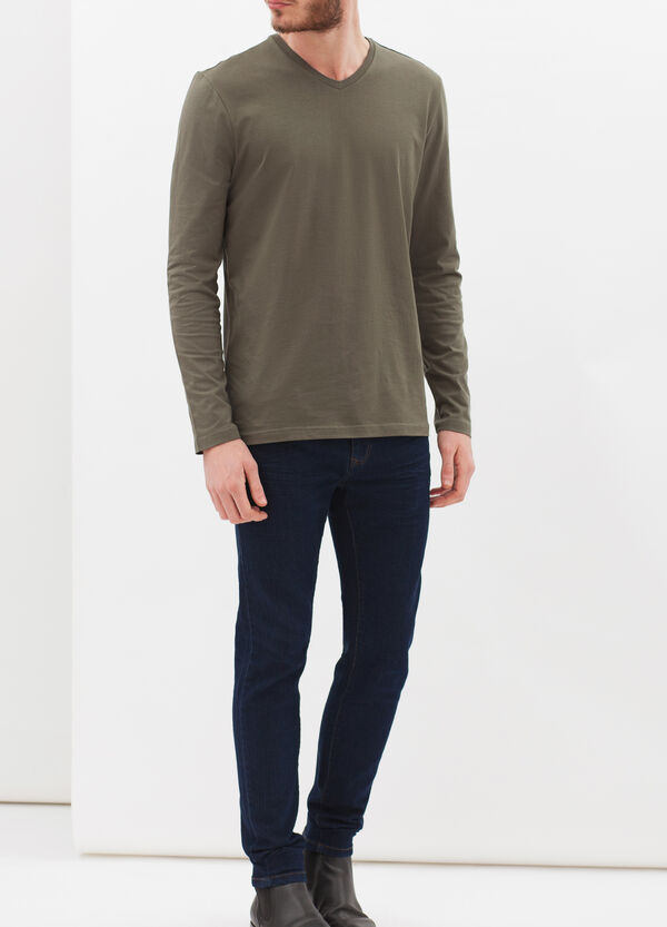 Long-sleeved T-shirt with V neck | OVS