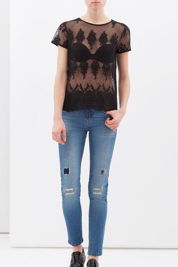 T-shirt semi trasparente con pizzo, Nero, hi-res