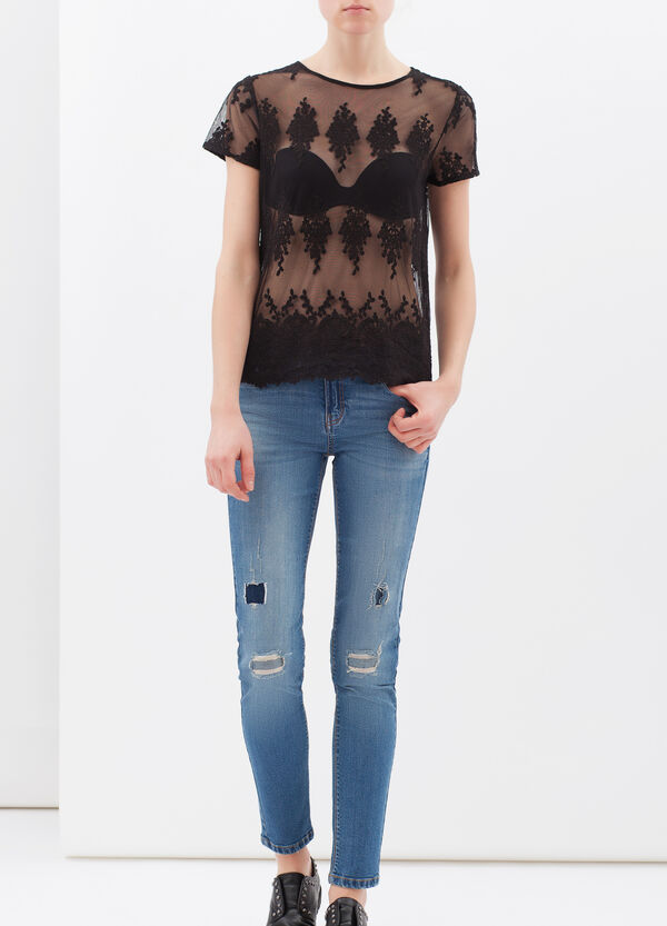 Semi-sheer printed T-shirt with lace | OVS