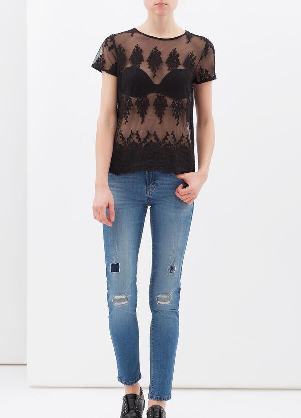 T-shirt semi trasparente con pizzo | OVS