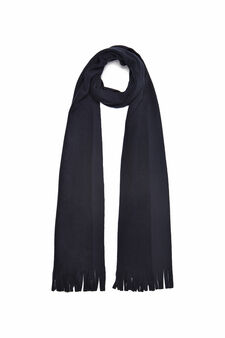 Fleece scarf with fringe, Navy Blue, hi-res