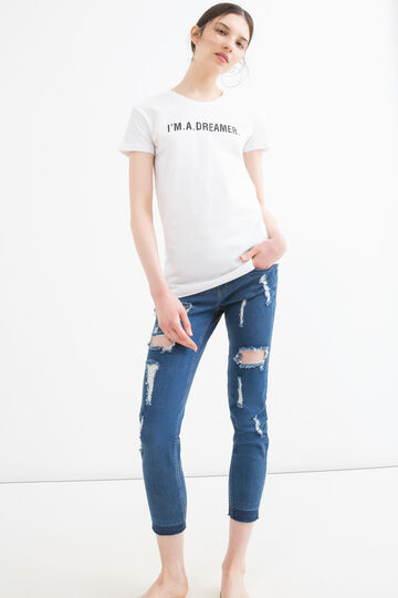 Cotton T-shirt with printed lettering, White, hi-res