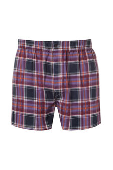 Cotton boxer shorts with geometric pattern, Purple, hi-res