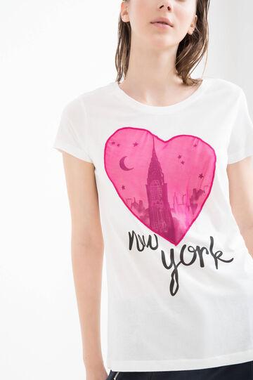 Printed modal cotton T-shirt, Pink, hi-res