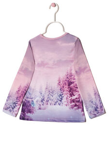 T-shirt with contrasting print, Pink, hi-res