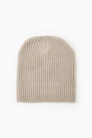 Knitted beanie cap, Chalk White, hi-res