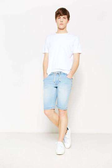 Slim-fit worn denim Bermuda shorts