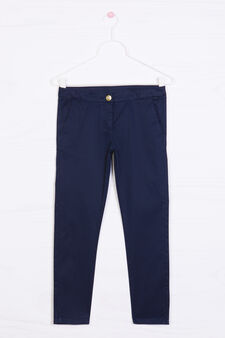 Solid colour stretch trousers, Blue, hi-res