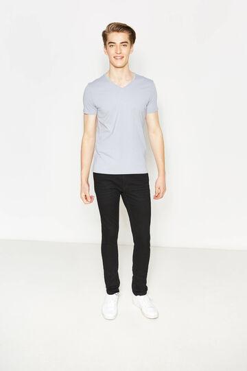 T-shirt con scollo a costina, Grigio chiaro, hi-res
