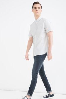 Camicia stampa colletto bottoni, Bianco, hi-res