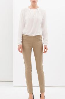 Pantaloni stretch tinta unita, Marrone khaki, hi-res