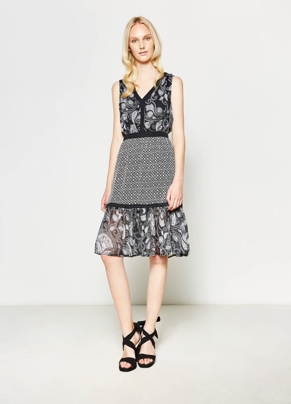 Sleeveless dress with all-over print | OVS