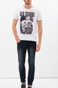 T-shirt puro cotone con stampa, Bianco avorio, hi-res