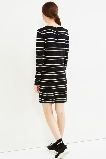 Striped viscose blend dress, Black/White, hi-res