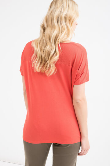 Curvy solid colour cotton T-shirt, Orange, hi-res