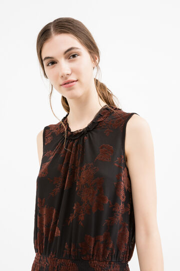 Patterned sleeveless dress with crew neck, Black, hi-res