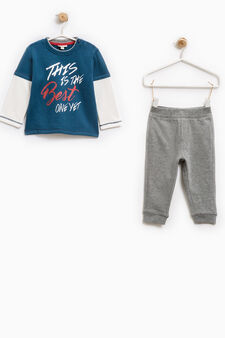 Printed outfit in 100% cotton, Grey/Blue, hi-res