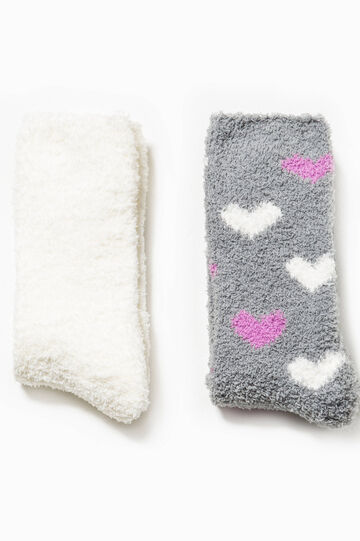 Two-pair pack solid colour and hearts patterned socks, White/Grey, hi-res