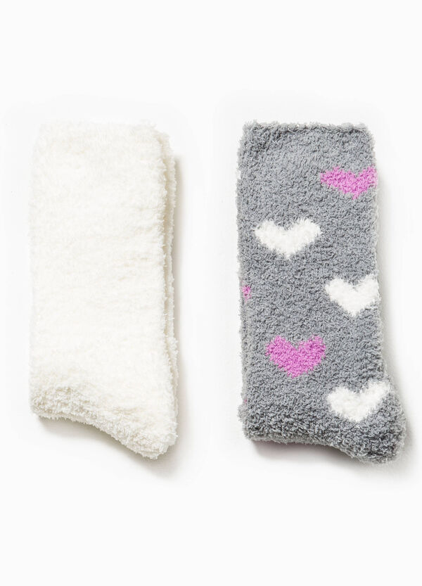 Two-pair pack solid colour and hearts patterned socks | OVS