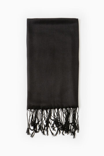 Twill pashmina with long fringes, Black, hi-res