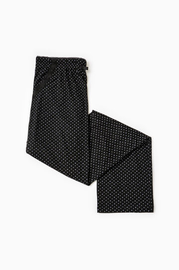Pyjama trousers with polka dot print, Black, hi-res