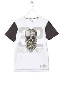 T-shirt with contrasting colour sleeves, White, hi-res
