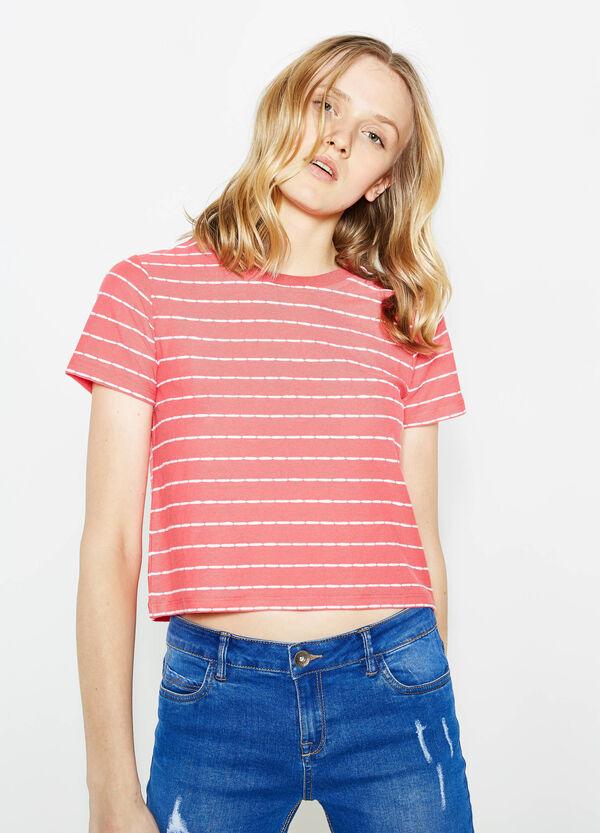 Camiseta corta de rayas en mezcla de algodón | OVS
